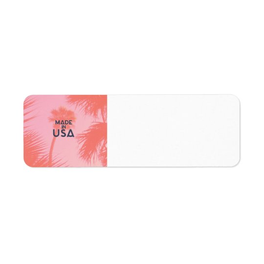 Trendy Palm Tree Bright Peach Made In  USA Type Return Address Label