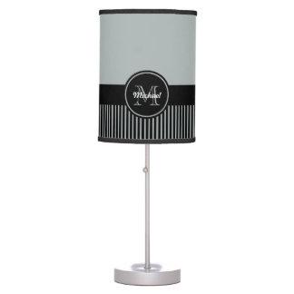 Trendy Paloma Grey Black Stripes Monogram Circle Table Lamp