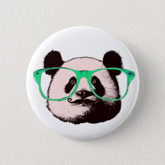 Trendy Panda Bear Faces Glasses Mustache Add Name 2 Inch Round Button