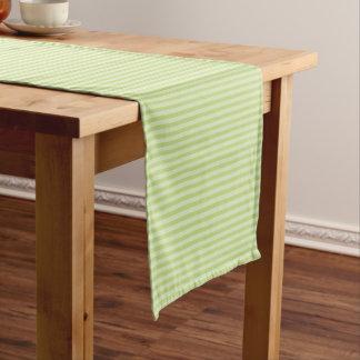 Trendy Pastel Bright Lime Green Stripes Pattern Medium Table Runner