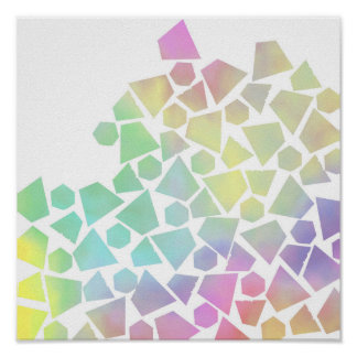 Trendy pastel pink teal watercolor abstract shapes poster