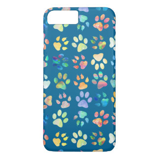 trendy paw prints pattern on blue iPhone 8 plus/7 plus case