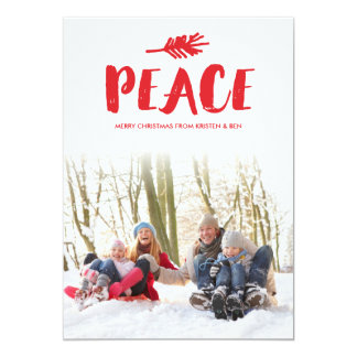 Trendy Peace Holiday Photo Cards - Red