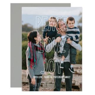 Trendy Peace Love Joy Overlay Holiday Flat Card