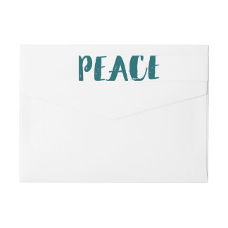 Trendy Peace Wraparound Holiday Labels - Teal
