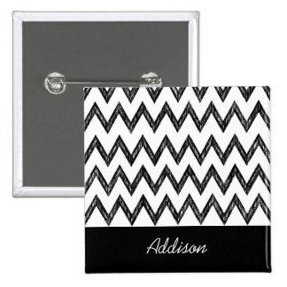 Trendy Pencil Black and White Chevron With Name 2 Inch Square Button