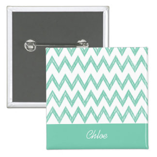 Trendy Pencil Mint Green Chevron Zigzags With Name 2 Inch Square Button