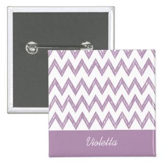 Trendy Pencil Purple Chevron Zigzags and Name 2 Inch Square Button