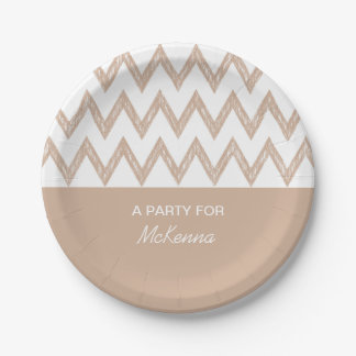 Trendy Pencil Tan Chevron Zigzags With Name Paper Plate