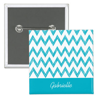 Trendy Pencil Turquoise Chevron Zigzags With Name 2 Inch Square Button