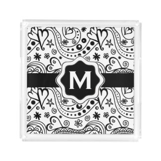 Trendy Personalized Hearts and Love Doodle Pattern Acrylic Tray