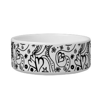 Trendy Personalized Hearts and Love Doodle Pattern Cat Bowls