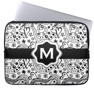 Trendy Personalized Hearts and Love Doodle Pattern Computer Sleeve