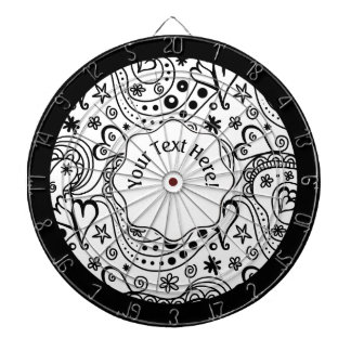 Trendy Personalized Hearts and Love Doodle Pattern Dartboard