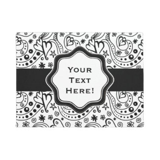 Trendy Personalized Hearts and Love Doodle Pattern Doormat