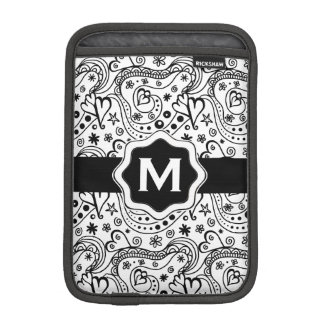 Trendy Personalized Hearts and Love Doodle Pattern iPad Mini Sleeve