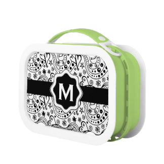 Trendy Personalized Hearts and Love Doodle Pattern Lunch Boxes