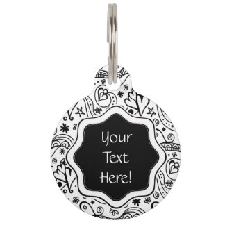 Trendy Personalized Hearts and Love Doodle Pattern Pet Tag
