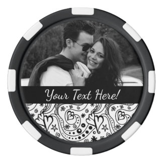 Trendy Personalized Hearts and Love Doodle Pattern Poker Chips