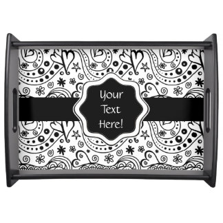 Trendy Personalized Hearts and Love Doodle Pattern Serving Tray