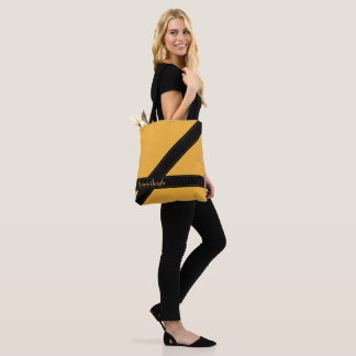 Trendy Personalized Mustard Yellow Black Stripes Tote Bag