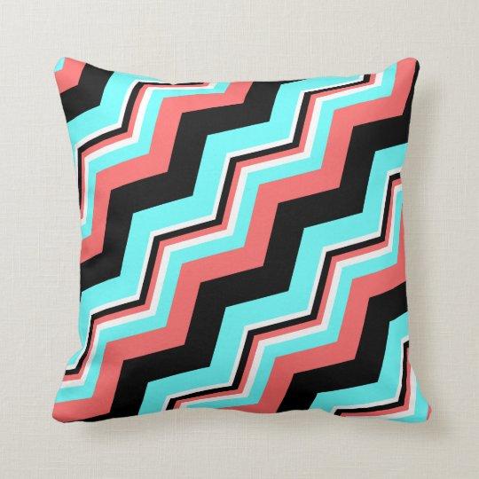 Trendy Pillow; Black, White, Coral & Teal Chevron Throw Pillow