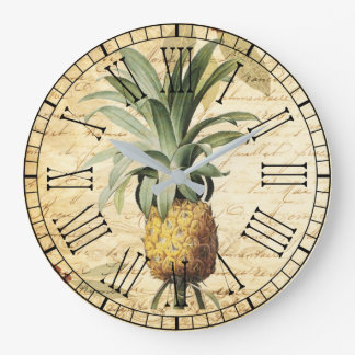 Trendy  Pineapple Art Vintage Calligraphy Large Clock