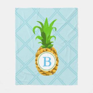 Trendy Pineapple & Initial Letter Fleece Blanket