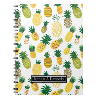Trendy Pineapple Pattern | Add Your Name Note Books