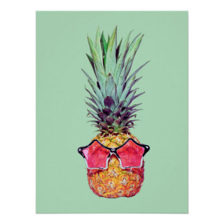 Trendy pineapple poster