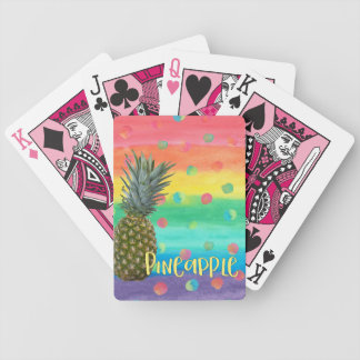 Trendy Pineapple Rainbow Stripes and Dots Bicycle Playing Cards