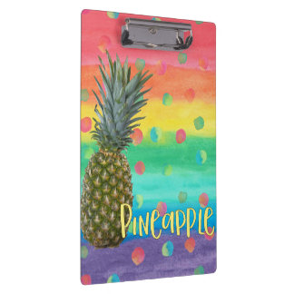 Trendy Pineapple Rainbow Stripes and Dots Clipboard