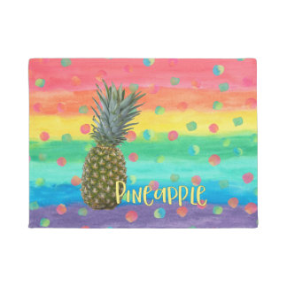 Trendy Pineapple Rainbow Stripes and Dots Doormat