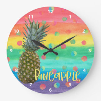Trendy Pineapple Rainbow Stripes and Dots Large Clock