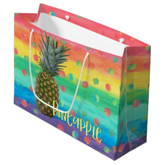Trendy Pineapple Rainbow Stripes and Dots Large Gift Bag