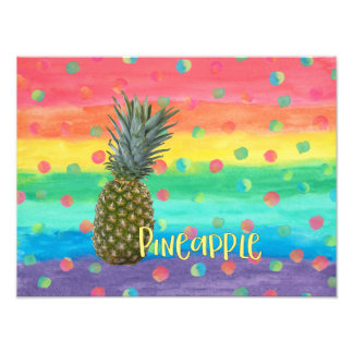 Trendy Pineapple Rainbow Stripes and Dots Photo Print