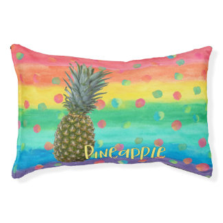 Trendy Pineapple Rainbow Stripes and Dots Small Dog Bed