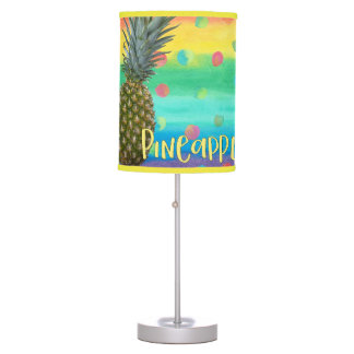 Trendy Pineapple Rainbow Stripes and Dots Table Lamp
