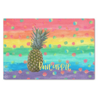 Trendy Pineapple Rainbow Stripes and Dots Tissue Paper