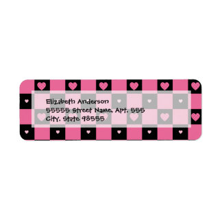 Trendy Pink and Black Checkered Hearts Return Address Label