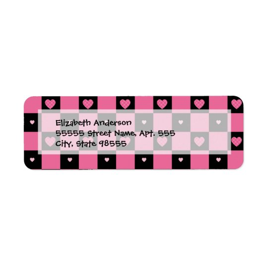 Trendy Pink and Black Chequered Hearts