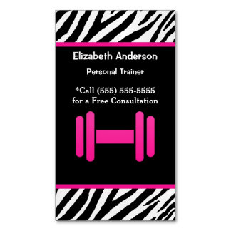 Trendy Pink and Black Dumbbell Personal Trainer Business Card Magnet
