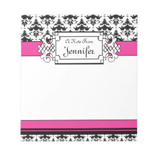 Trendy Pink and Black Girl's Personalized Notepad