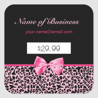 Trendy Pink And Black Leopard Hot Pink Price Tags Square Sticker