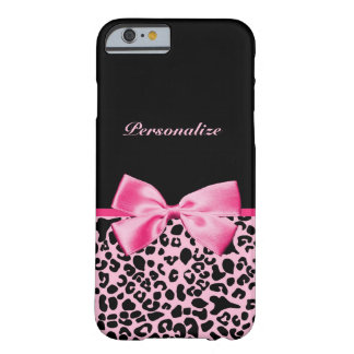 Trendy Pink And Black Leopard Hot Pink Ribbon Barely There iPhone 6 Case