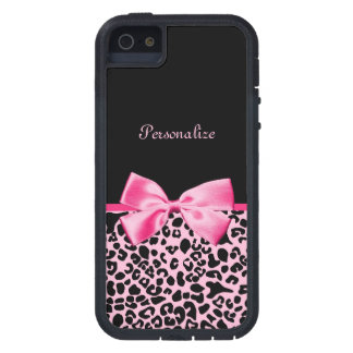 Trendy Pink And Black Leopard Hot Pink Ribbon Case For The iPhone 5