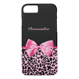 Trendy Pink And Black Leopard Hot Pink Ribbon iPhone 8/7 Case