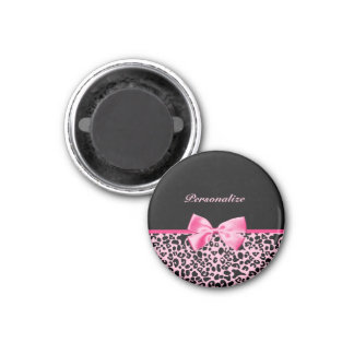 Trendy Pink And Black Leopard Hot Pink Ribbon Magnet