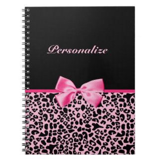 Trendy Pink And Black Leopard Hot Pink Ribbon Notebook