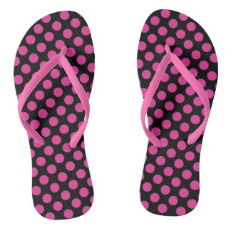 Trendy Pink and Black Polka Dot Flip Flops